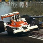 James Hunt driving over Andretti at Zandvoort, 1977