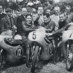 The 1961 Isle of Man TT From left Phillis, Taveri and Hailwood.