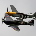 the old flying machine company's Spitfire and Mustang entertained on sunday lunch time